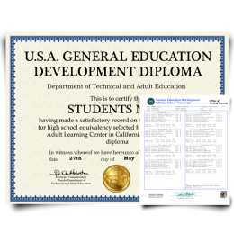 Fake GED Diploma & Transcript from USA! Complete Package! Best Value! 100% Satisfaction Guaranteed! Only $119.00!
