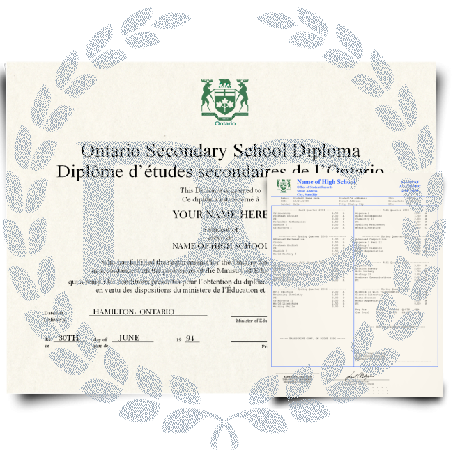 Canada High School Fake Diploma & Transcript! Total Package! Best Value! 100% Satisfaction Guaranteed! Only $159.00!