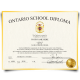 Canada high school diploma from Ontario in 1994 printed on gold border paper with shiny gold seal in bottom right