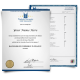 Diploma from University in New Zealand wit shiny gold state seal on blue border paper next to academic mark sheet featuring college courses and final scores