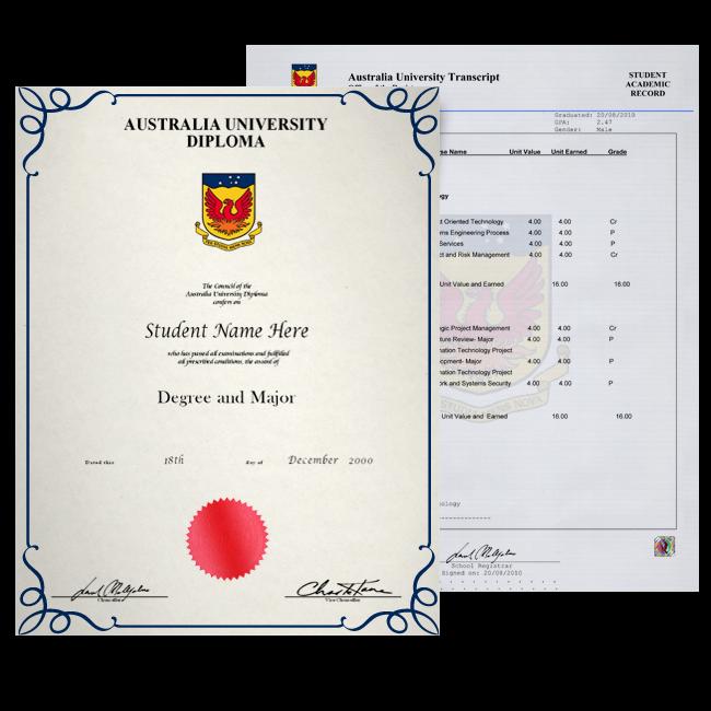 Fake Diploma & Transcript from Australia University