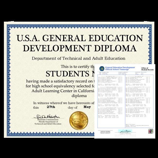 Fake GED Diploma & Transcript from USA