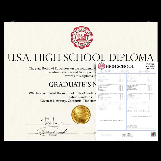 Fake High School Diploma & Transcript from USA