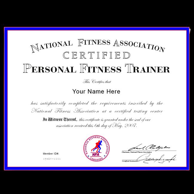 Fake Personal Training Certificate