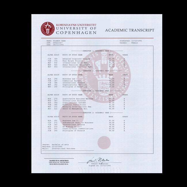 Buy Fake Transcript from Denmark University! New 2020 Classes! Embossed! Most Lifelike Novelty! Only $199.00!