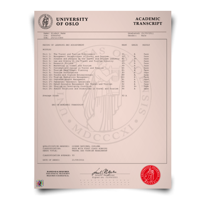 Buy  Fake Transcript from Norway University! New 2020 Classes! Embossed! Most Realistic Novelty! For $199.00!