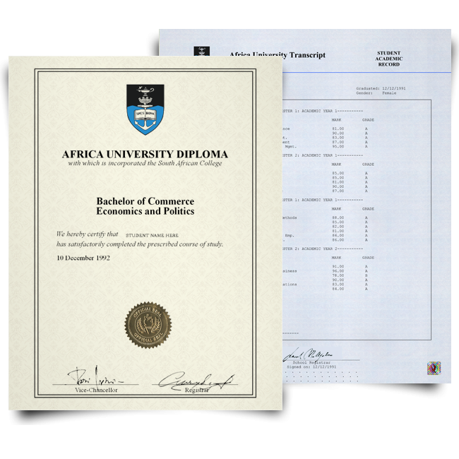 Fake Diploma & Transcript from South Africa University! Total Package! Best Value! 100% Satisfaction Guaranteed! Just $379.00!