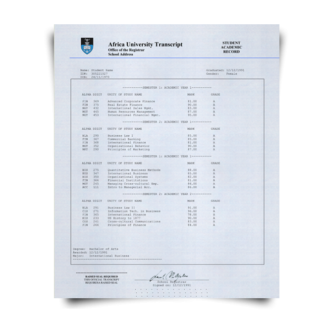 Order Fake Transcript from South Africa University! New 2020 Courses! Embossed! Most Realistic Novelty! For $199.00!