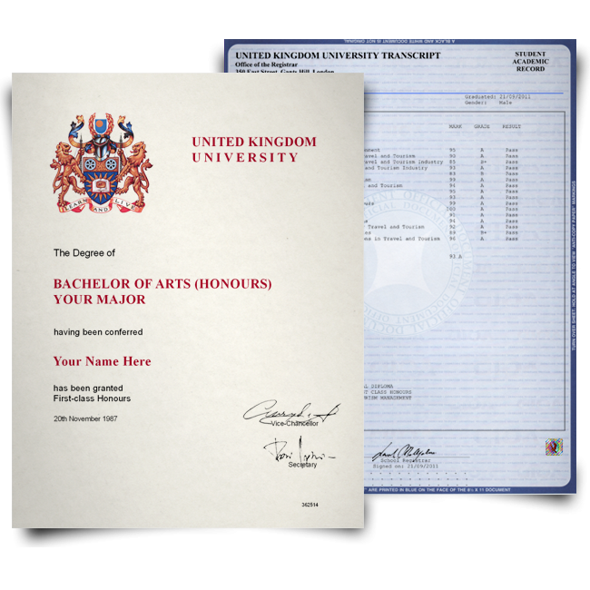 Fake Diploma & Transcript from United Kingdom University! Total Package! Best Value! 100% Satisfaction Guaranteed! Just $379.00!