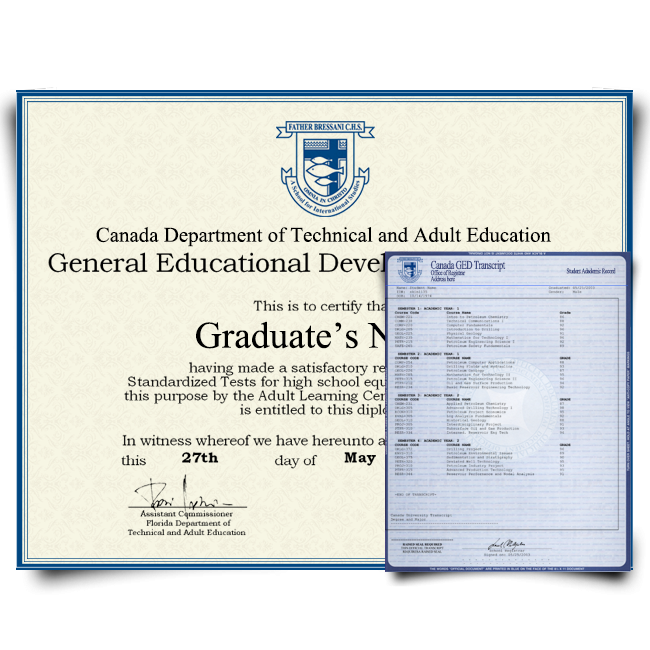 Fake GED Diploma & Transcript from Canada