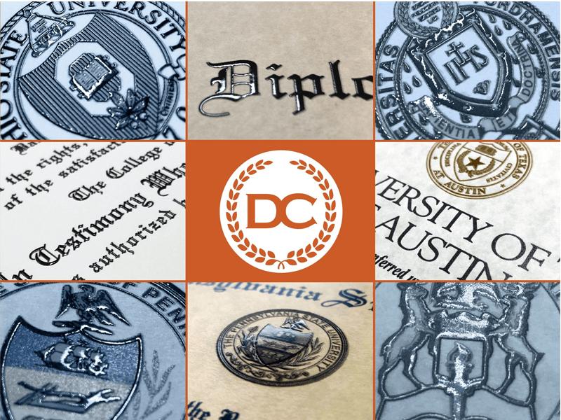 raised seals embossed text fake diplomas