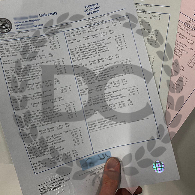 holding fake transcripts printed on blue and red security paper!
