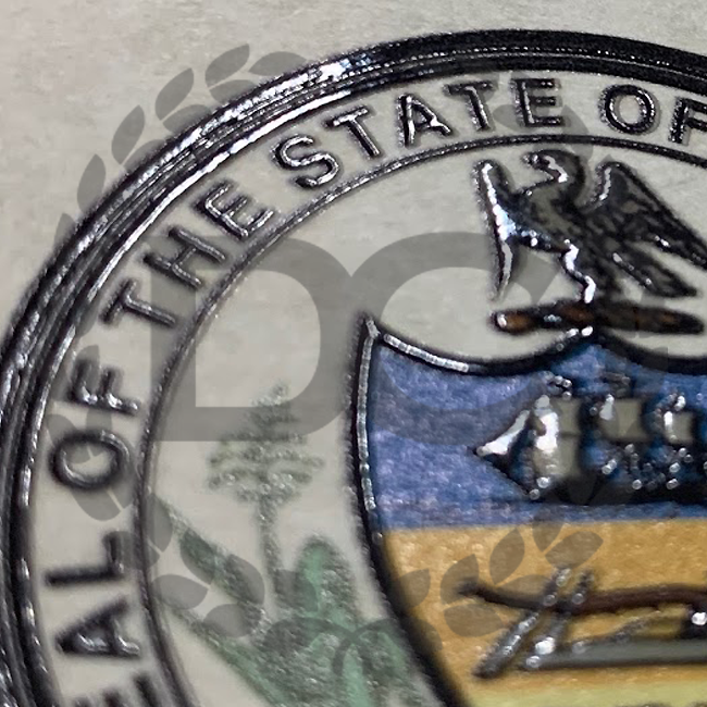 embossed seal on a fake Pennsylvania diploma