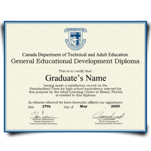 Fake GED Diploma from Canada