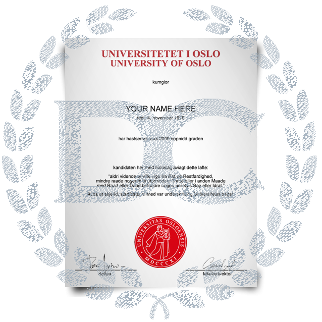 Buy Fake Diploma from Norway University! Top Premium Layouts! Updated 2020! Just $199.00!
