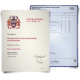 UK bachelor of arts diploma from college next to college transcripts on blue academic paper