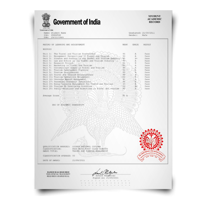 Order Fake Transcript from India University! New 2020 Classes! Embossed! Most Realistic Novelty! For $199.00!