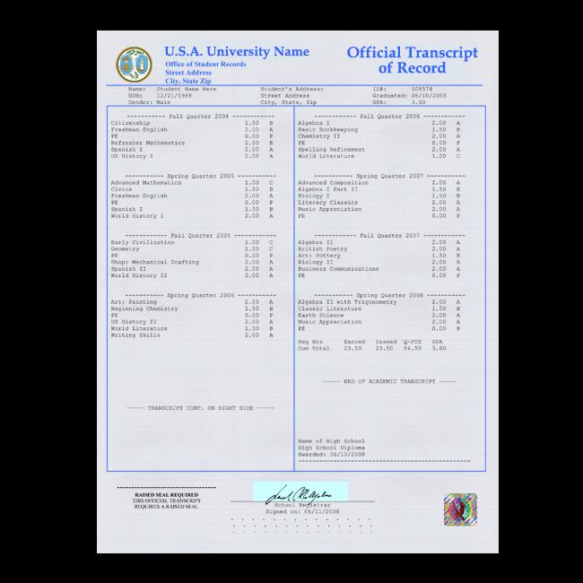 Order Fake Transcript from USA University! New 2020 Classes! Embossed! Most Lifelike Novelty! For $179.99!