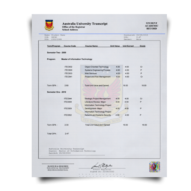 Fake Transcript from Australia University