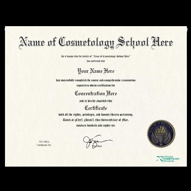 Fake Cosmetology Certificate