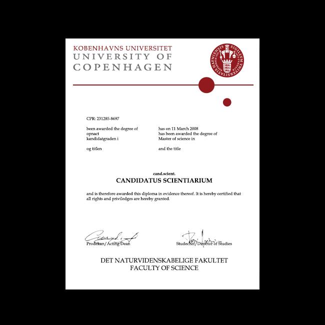 Fake Diploma from Denmark University