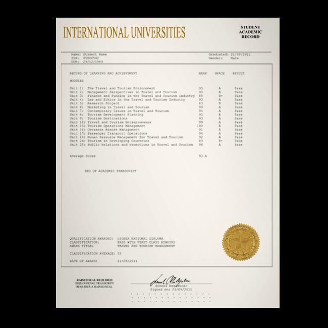Fake Transcript from International University