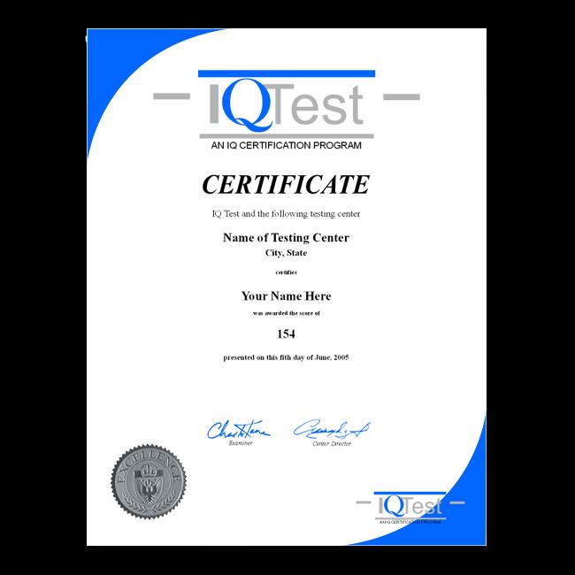 Fake Mensa Certificate