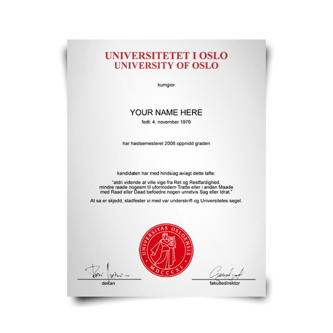 Fake Diploma from Norway University
