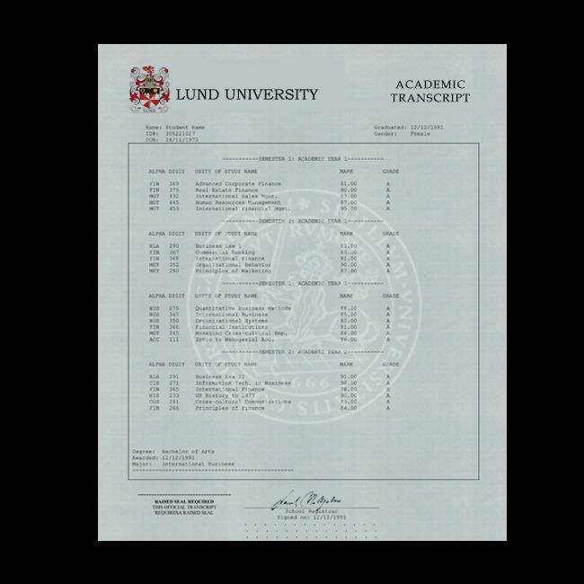 Fake Transcript from Sweden University