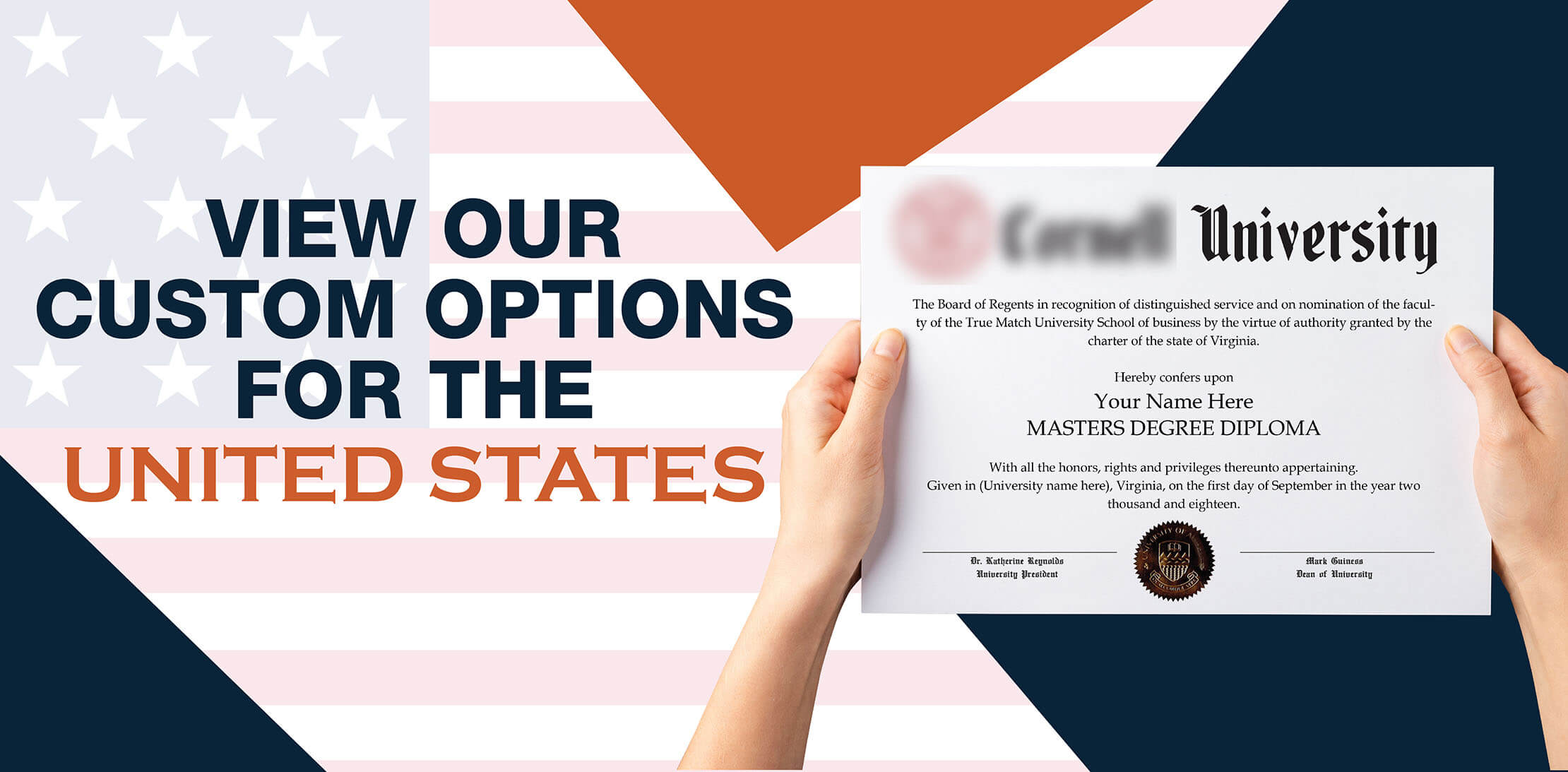 hands holding high quality realistic fake USA degrees from Diploma Company Canada!