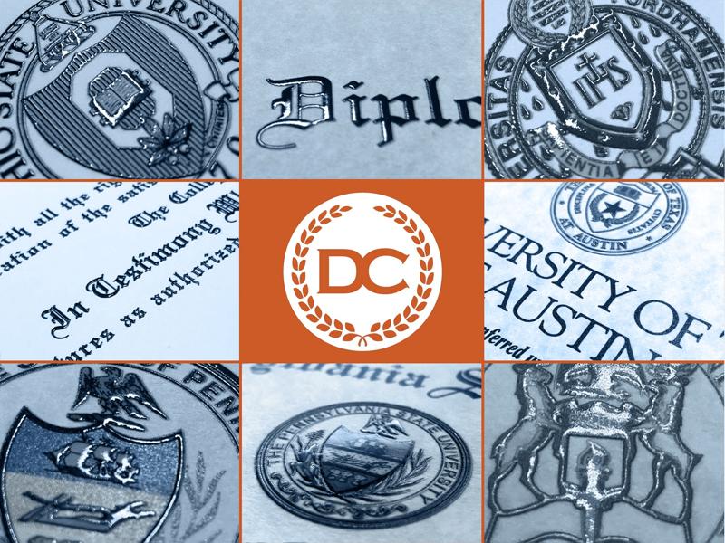 raised text embossed seals and logos fake diplomas