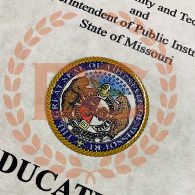 embossed seal on a fake missouri diploma
