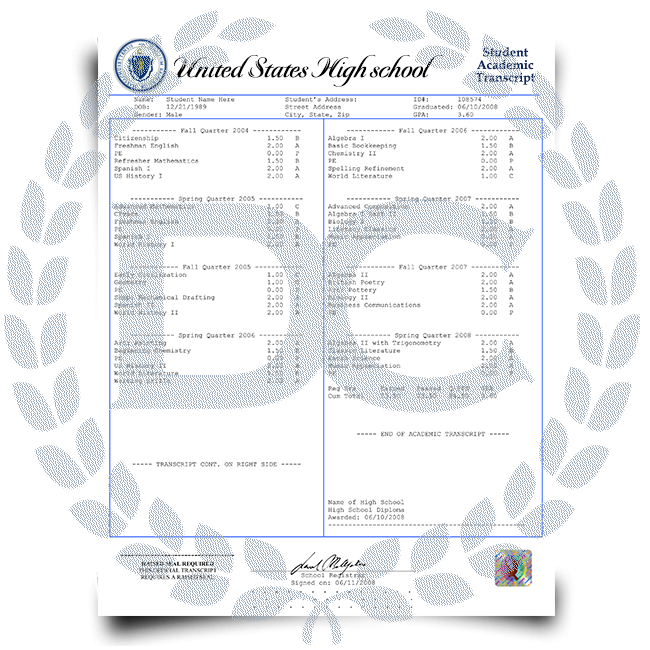 Order Fake High School Transcripts from USA! New 2020 Classes! Embossed! Most Realistic Novelty! For $99.00!