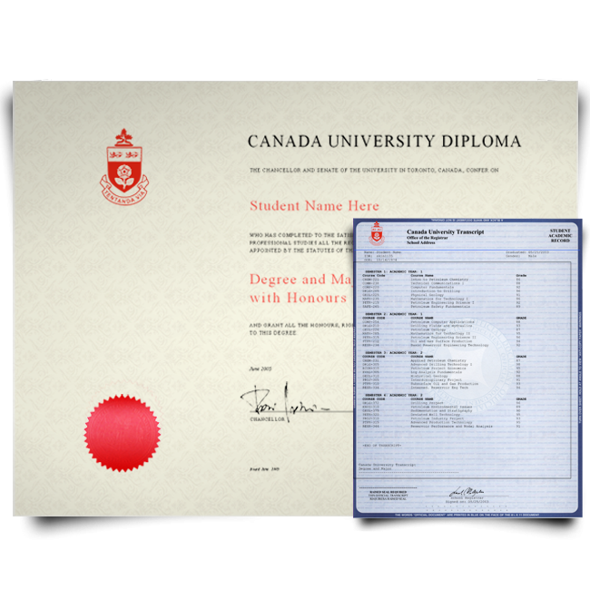 Canada university diploma with red seal next to set of blue university transcripts feature college classes and grades