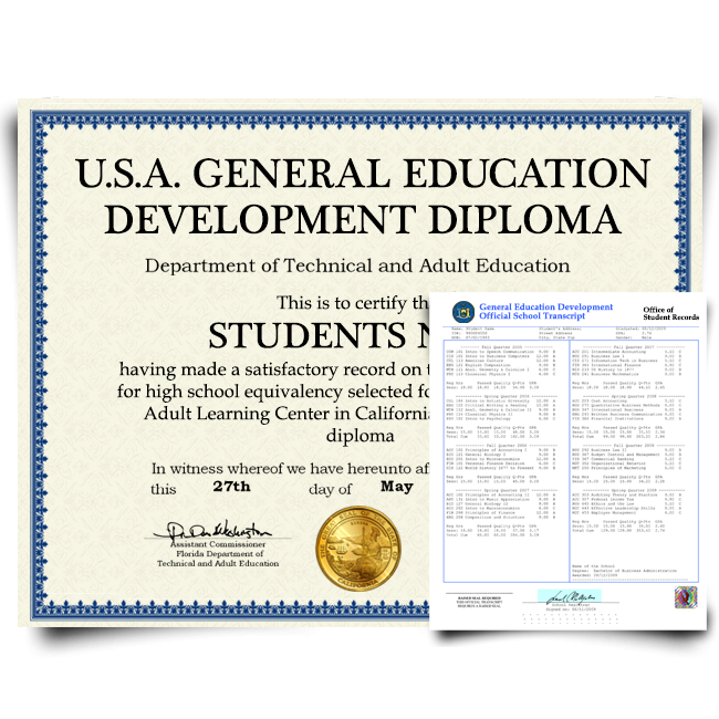 diploma from ged testing center in usa featuring shiny gold seal on blue border certificate paper