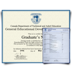 Fake GED Diploma & Transcript from Canada! Complete Package! Best Deal! 100% Satisfaction Guaranteed! Only $119.00!