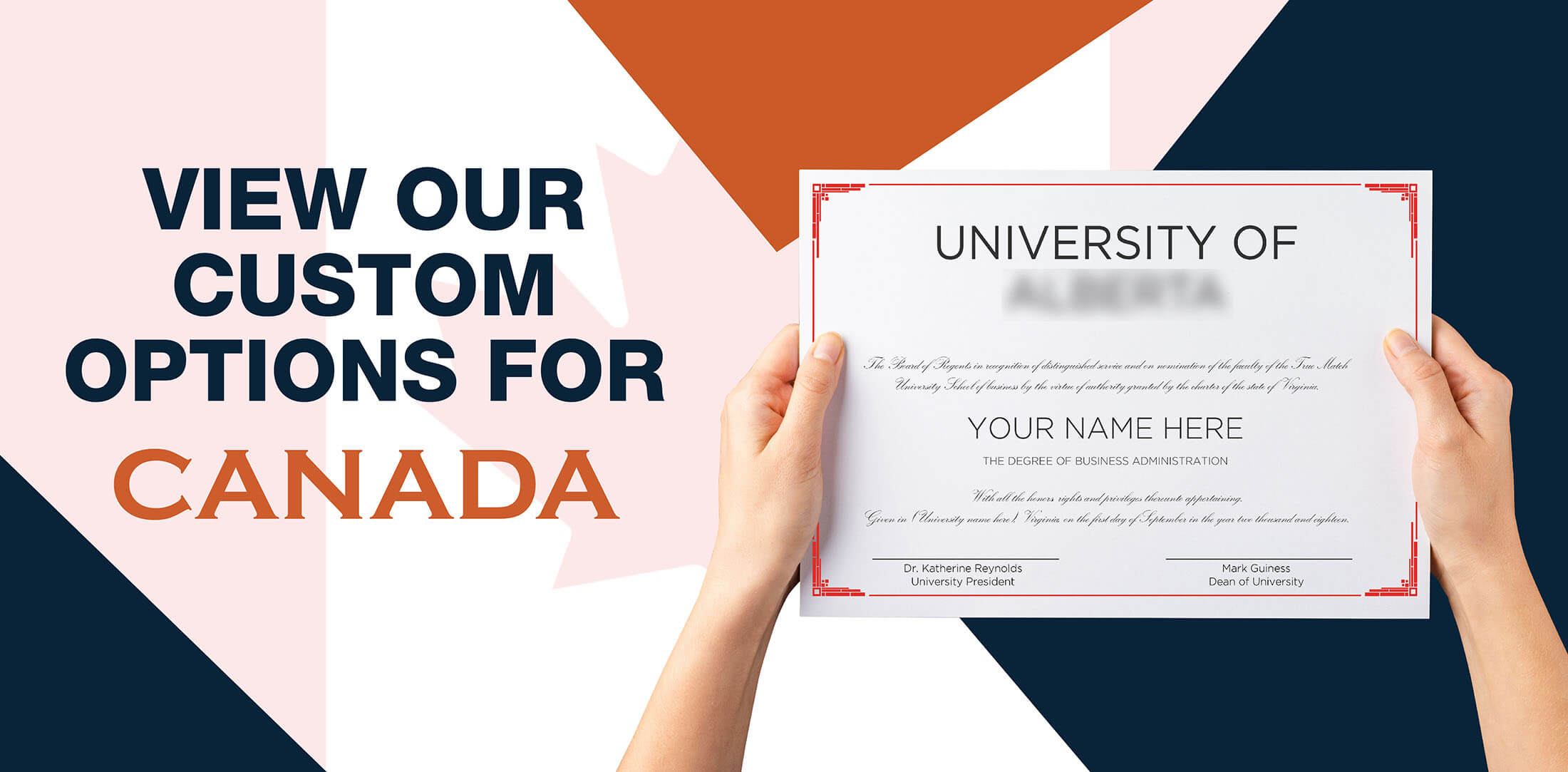 hands holding high quality realistic fake Canada degrees from Diploma Company UK!