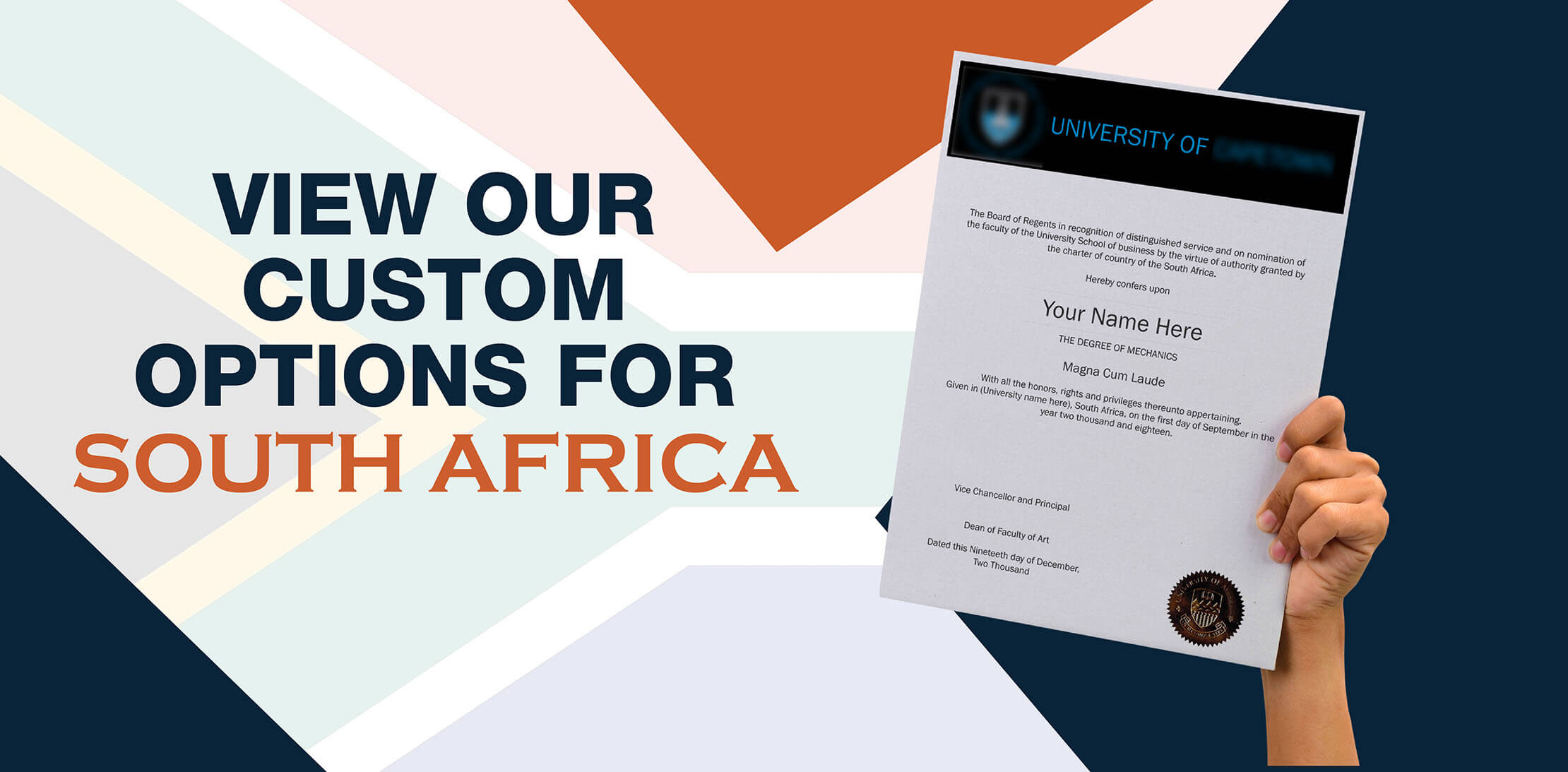 hands holding high quality realistic fake South Africa degrees from Diploma Company UK!