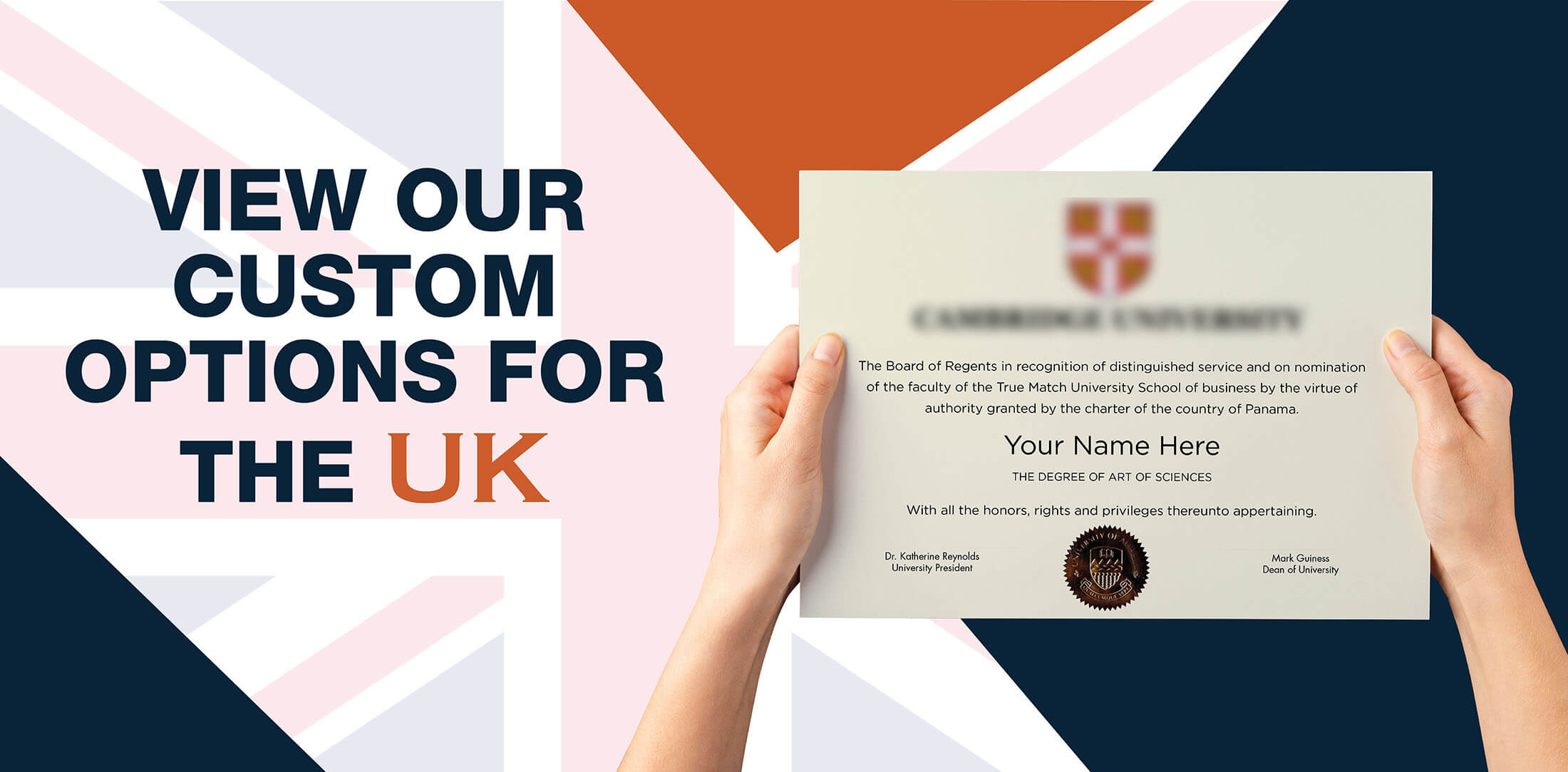 hands holding high quality realistic fake United Kingdom degrees from Diploma Company UK!