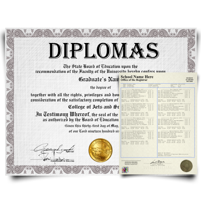 Fake Diplomas and Transcripts - Complete Packages! Both Documents!