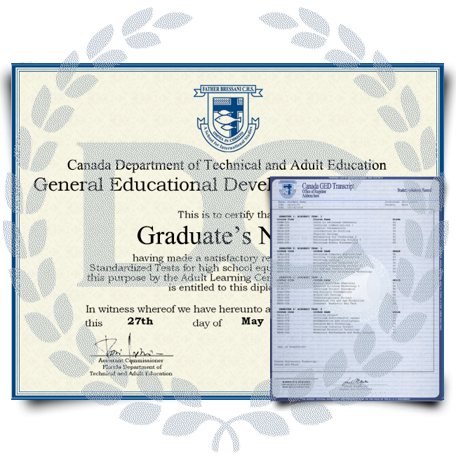 Fake GED Diploma & Transcript from Canada! Total Package! Best Deal! 100% Satisfaction Guaranteed! Only $119.00!