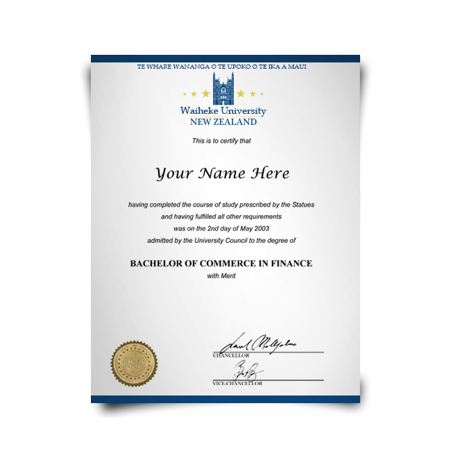Diploma in Bachelor of Commerce in Finance on blue paper from New Zealand university featuring shiny gold college seal with student details