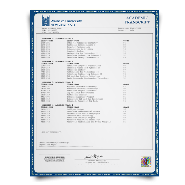 Transcript mark sheets from New Zealand university featuring college classes and student details and final score breakdown on hologram and signed official academic paper with border