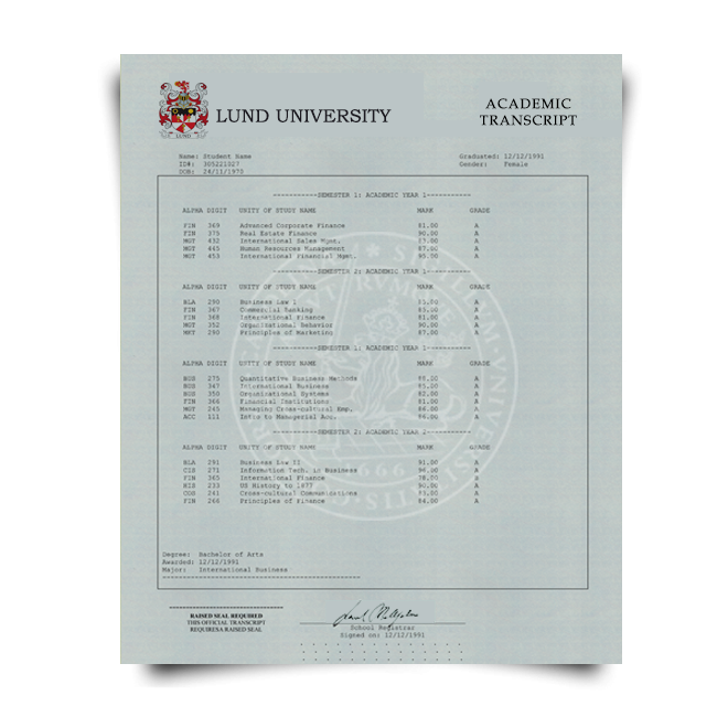Set of signed and stamped academic mark sheet transcripts from Lund University in Sweden featuring college classes and student information on watermarked security paper