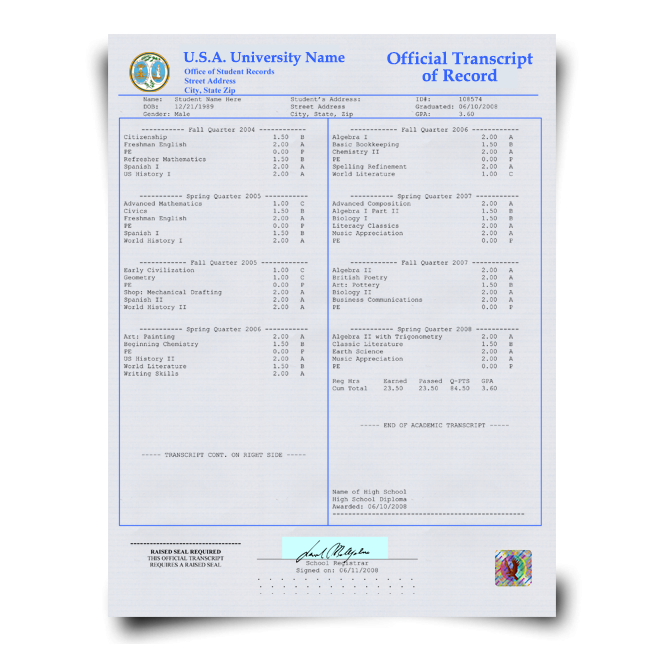 Set of signed academic transcripts from USA university featuring college classes and grades and printed on security paper with hologram