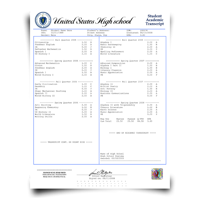 Set of transcripts from high school in usa showcasing class details and final grade information with hologram on academic security paper