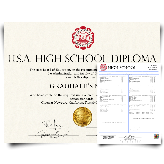 Fake High School Diploma & Trancript from USA! Complete Package! Best Deal! 100% Satisfaction Guaranteed! Just $159.00!