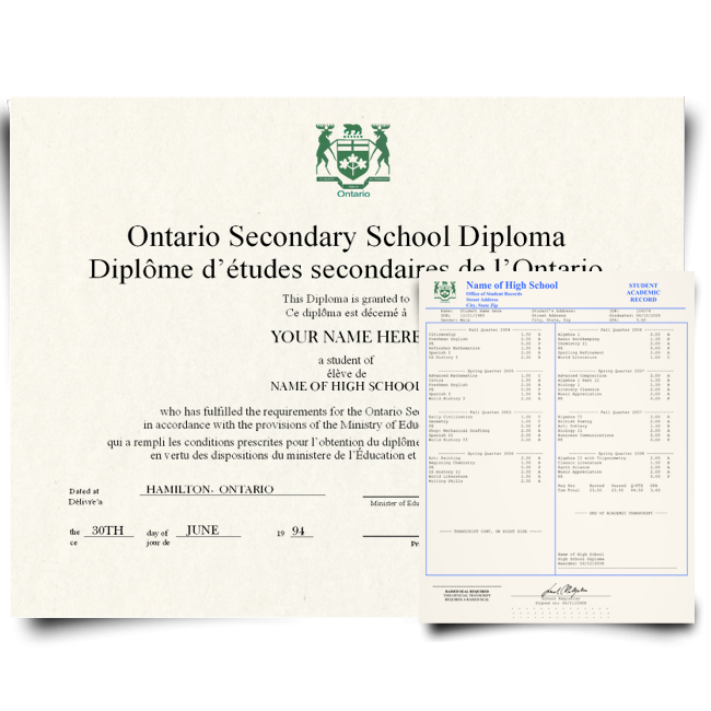 Canada High School Fake Diploma & Transcript! Total Package! Best Deal! 100% Satisfaction Guaranteed! Only $159.00!