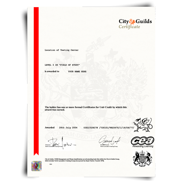 Fake City and Guilds Certificate