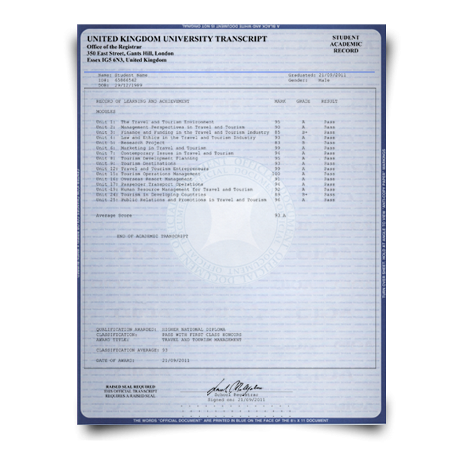 Buy Fake Transcript from United Kingdom University! New 2020 Classes! Embossed! Most Realistic Novelty! For $199.00!